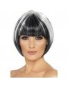Perruque coeurte noire mèches blanches | Accessoires