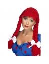 Perruque poupée tresses laine rouge | Accessoires
