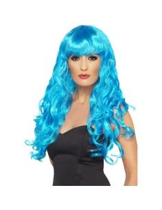 Perruque sirène bleue frisée | Accessoires