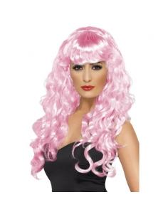 Perruque sirène rose frisée | Accessoires