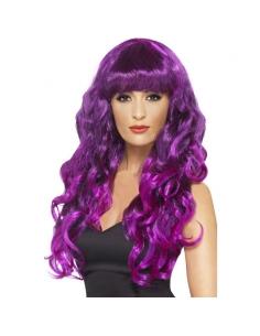 Perruque sirène violet/noir frisée   Accessoires