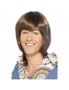 Perruque idole homme années 70 brune | Accessoires