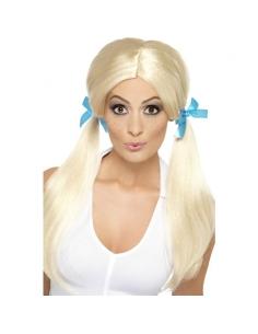 Perruque écolière blonde à couettes | Accessoires