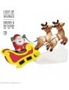 Décoration Père Noël sur son traineau avec 2 rennes. Gonflable et lumineux de 2,10 m