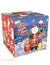 Décoration Père Noël Gonflable et Lumineuse - Tête animée et musique