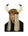 Casque de viking avec cornes et cheveux blonds   Accessoires