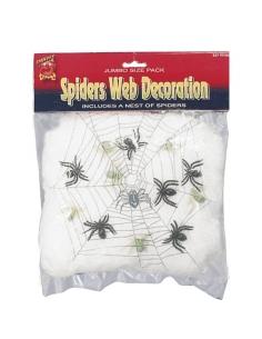 Toile d'araignée blanche + 6 araignées   Décorations