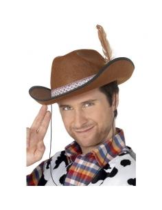 Chapeau cowboy feutre marron avec plume   Accessoires