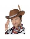 Chapeau cowboy feutre marron avec plume | Accessoires