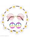 Accessoires Hippie pour femme (bandeau à fleurs, boucles d'oreilles, lunettes)