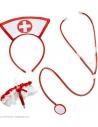 SET INFIRMIERE (coiffe, jarretière avec seringue, stethoscope)