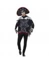 Déguisement bandit Jour des morts, Noir et blanc (poncho, sombrero et gants)