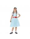 Déguisement de fille de la campagne, Bleu et blanc (robe et bandeau pour les cheveux)