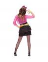 Déguisement femme années 80' rose et noir (robe, caraco, ceinture, noeud pour les cheveux)