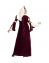 Déguisement médiéval femme bordeaux (robe, jupon, coiffe avec voile)