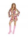 Déguisement disco femme (robe groovy rose, bandeau)