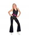Déguisement Disco années 70' Femme (combinaison noire, ceinture)