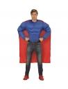 Déguisement Super Héros Musclé Homme (chemise muscles, cape)