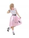 Déguisement femme années 50 (robe rose et blanche, ceinture et foulard)