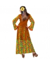 Déguisement femme hippie fluide (robe avec veston, collier peace & love)
