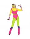 Déguisement années 80, femme prof d'aérobic (combinaison, ceinture, bandeau, bandeau bracelets)