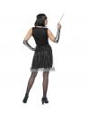 Déguisement années 20 femme (robe noire et argent, bandeau avec plume)