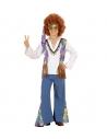 Déguisement garçon hippie bleu et marron (chemise avec veste, pantalon, bandeau)
