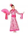 Déguisement Chinoise enfant rose (kimono avec ceinture, coiffe)
