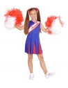 Déguisement pom pom girl enfant, bleu et rouge (robe)