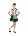 Déguisement Bavaroise fille, vert et rose (robe, bandeau à fleurs)
