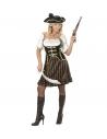 FEMME CAPITAINE DES PIRATES (robe avec corset, chapeau avec plumes)