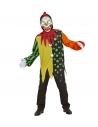 Déguisement clown tueur garçon (casaque à capuche, col, masque avec yeux lumineux & sons de clown affreux)