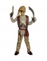 PIRATE DE BATEAU FANTOME (chemise avec poitrine osseuse, gilet, pantalon, ceinture bandeau, masque)