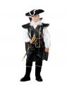 Déguisement corsaire des mers enfant (chemise, casaque avec cape, pantalon avec sur-bottes, chapeau)