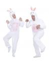 Déguisement lapin adulte mixte rose et blanc (combinaison à capuche avec masque)