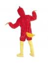 Déguisement oiseau rouge adulte en peluche (combinaison à capuche avec masque)
