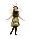 Déguisement Abeille fille jaune et noir (robe, jupon, ceinture à noeud, ailes, antennes)