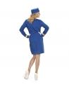 Déguisement Hôtesse de l'air bleu, Femme (veste, jupe, chapeau)