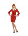 Déguisement hotesse de l'air rouge (veste, jupe, foulard, calot)