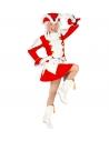 Déguisement majorette fille rouge et blanc (veste, jupe avec jupon, couvre-bottes, chapeau)