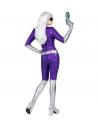 Déguisement Alien femme violet et argent (combinaison, ceinture, gants)