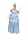 Déguisement princesse femme bleu (robe avec jupon, gants, tiare)