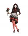 Déguisement Dia De Los Muertos, femme rouge et noir (robe, voile fleuri)