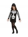 Déguisement de Squelette fille noir et blanc (robe avec capuche)