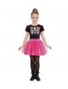 Déguisement danseuse squelette fille rose (robe avec tutu)