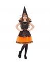 Déguisement Sorcière orange et noir, fille  (robe orange et noire, motif citrouille et chapeau)