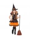 """""""SORCIERE"""" (robe orange et noire, motif citrouille et, chapeau)"""