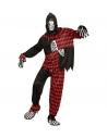 Déguisement Méchant Joker Adulte  rouge et noir (manteau à capuche avec masque, pantalon)