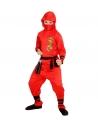 DRAGON NINJA ROUGE ENFANT (veste à capuche, pantalon, ceinture, masque, liens pour les bras et les jambes)