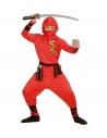 Déguisement Ninja dragon, rouge, enfant (veste à capuche, pantalon, ceinture, masque, liens pour les bras et les jambes)